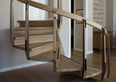 Curved Solid Oak and Brass Staircase