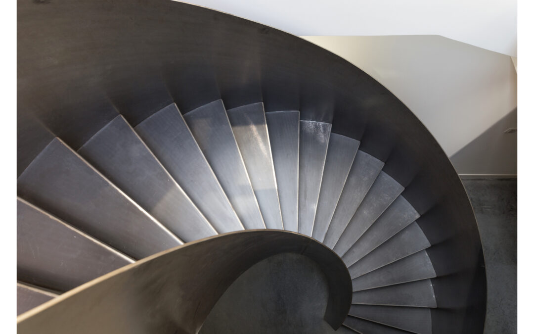 Curved Raw Steel Staircase